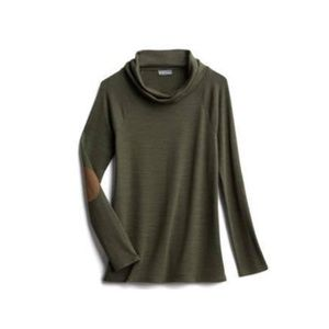 Market & Spruce Marven Cowl Neck Elbow Patch Top